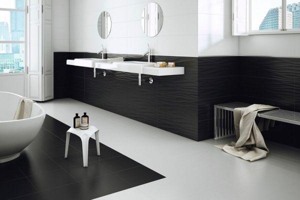 Silk Blanco zidna podna pločica prostor kupatilo crno bijela